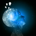 Universe mind ideas galaxy inside human head with light bulbs Royalty Free Stock Photo