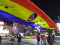 Universitate square with people and revolutionary romanian flag photo at protesters Stock Image