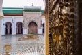 University al qarawiyyin fez el bali medina fez morocco entrance of the or karaouine north africa focus in background Royalty Free Stock Photos