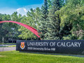 University of calgary entrance sign canada july the and arch on july in alberta canada the and arch are the Stock Photography