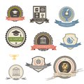 University college and academy heraldic emblems logo with shields buildings wreaths ribbons education elements Stock Image