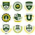 University and college crests set of school emblems Royalty Free Stock Images