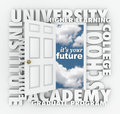 University college words open door to your future a opening the it s surrounded by terms such as school institute education Stock Image
