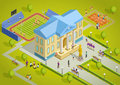 University Complex Building Isometric View Poster