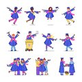 University graduation students line set collection of happy dancing graduates vector illustrations.