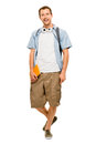 University student man back to school happy young full length smiling Stock Photography