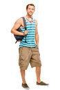 University student man back to school happy young going Royalty Free Stock Photo
