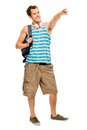University student man back to school happy young pointing going Royalty Free Stock Photos
