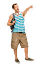 University student man back to school young pointing going Royalty Free Stock Image