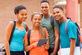 University students tablet group afro american with computer Royalty Free Stock Photography