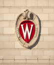 University of wisconsin madison school crest wi dec the the in on the facade the new dejope residential dormitory Stock Images