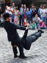 Unknown acrobats make the performance at the week end street festival on august in edinburgh great britain Stock Image