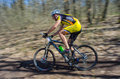 Unknown bike racer galati romania april on the competition of the mountain xc garboavele on april in galati romania Stock Images
