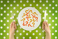 Unknown food woman eating question marks on a white plate top view or unredcognizable concept Royalty Free Stock Images