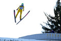 Unknown ski jumper rasnov romania march competes in the fis jumping world cup ladies on march in rasnov romania Stock Images