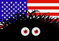 Unknown threat to the united states of america comic vector illustration with flag and black red eyed monster Royalty Free Stock Photography