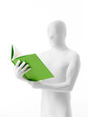 Unknown white person green book faceless man dressed with a in hand half section Stock Image