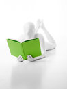 Unknown white person green book faceless man dressed with a in hand sitting on the floor belly Stock Photography