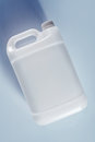 Unlabeled white plastic tank canister chemical liquid container Royalty Free Stock Photo