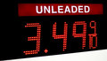 Unleaded gas price Royalty Free Stock Photo
