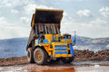 Unloading truck in a career of iron ore Royalty Free Stock Images