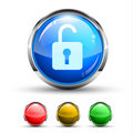 Unlock Cristal Glossy Button Stock Photo