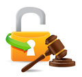 Unlock and gavel illustration design over a white background Stock Photography