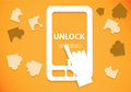 Unlock mobile phone the or tablet with a swipe easy Royalty Free Stock Photography