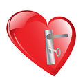 Unlock my heart red with door lock and key isolated against a white background Stock Images