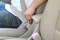 Unlock seat belt Royalty Free Stock Photo