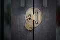 Unlock wood door Royalty Free Stock Photo