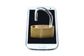 Unlocked padlock on a mobile phone Royalty Free Stock Photo