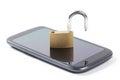 Unlocked phone stock photo with put padlock on it isolated on white background conceptual symbolizes unlimited usage Stock Photos