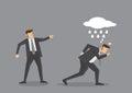 Unlucky Business Executive Gets Scolding Vector Cartoon Illustra