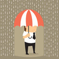 Unlucky businessman being wet from raining instead he holding um umbrella misfortune vector Stock Images
