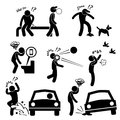 Unlucky man bad luck people karma a set of pictograms representing facing all sort of Stock Images