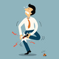 Unlucky man businessman get injury from stepping to nail business concept in accident or unfortunate event Royalty Free Stock Images