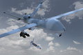 Unmanned drone d render of an aerial vehicle or dropping a laser guided bomb against a cloudy sky Stock Photo