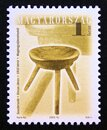 Postage stamp Hungary, 2001, Antique wooden three legged stool by János Vincze, 1910 Royalty Free Stock Photo