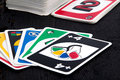 Uno card game on black table sorel tracy canada may view of wood the was developed by merle robbins in ohio usa in it is a Stock Image
