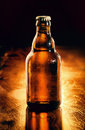 Unopened bottle of chilled beer Royalty Free Stock Photo