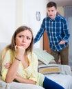 Unpleased person criticizing spouse