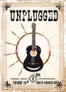 Unplugged concert poster with grunge effect Royalty Free Stock Images