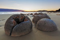 Unreal Moeraki Boulders at low tide, Koekohe beach, New Zealand Royalty Free Stock Photo