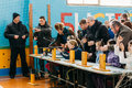 Unrecognizable belarusian secondary school pupils girls shooting gomel belarus january an air rifle at a sports competition Royalty Free Stock Photo