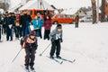 Unrecognizable belarusian secondary school pupils preparing for gomel belarus january winter ski competitions ski sniper Royalty Free Stock Image