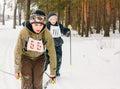 Unrecognizable belarusian secondary school pupils preparing for gomel belarus january winter ski competitions ski sniper Stock Photography