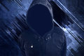 Unrecognizable hooded soccer hooligan portrait spooky faceless criminal person in jacket with hood Royalty Free Stock Image