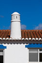 Unrecognizable part of residential house at algarve portugal bright blue sky as a background Royalty Free Stock Photography