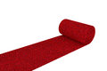 Unrolled red carpet on a white background Stock Photo